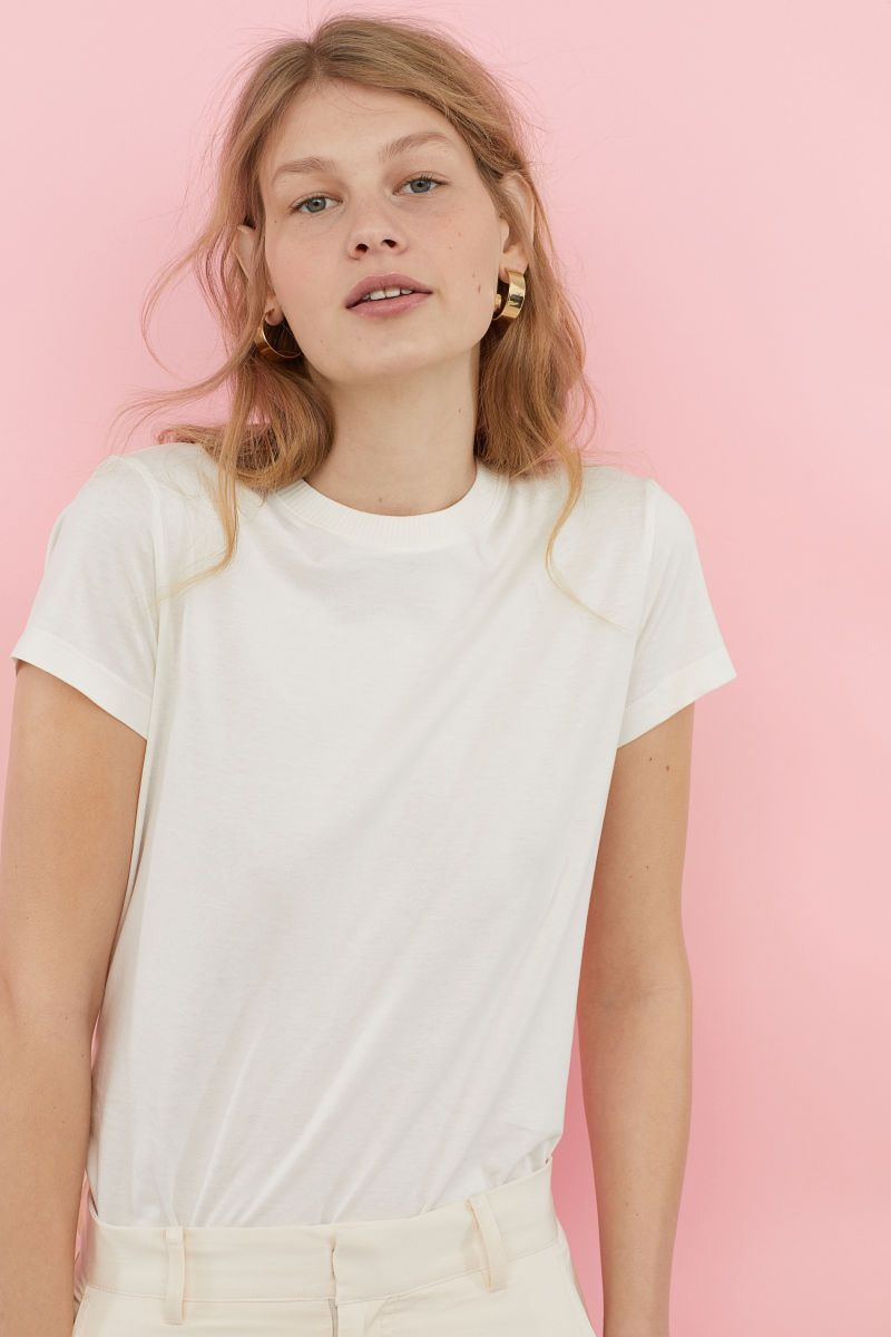 Silk blend jersey top | White | LADIES | H&M RS | Fashion