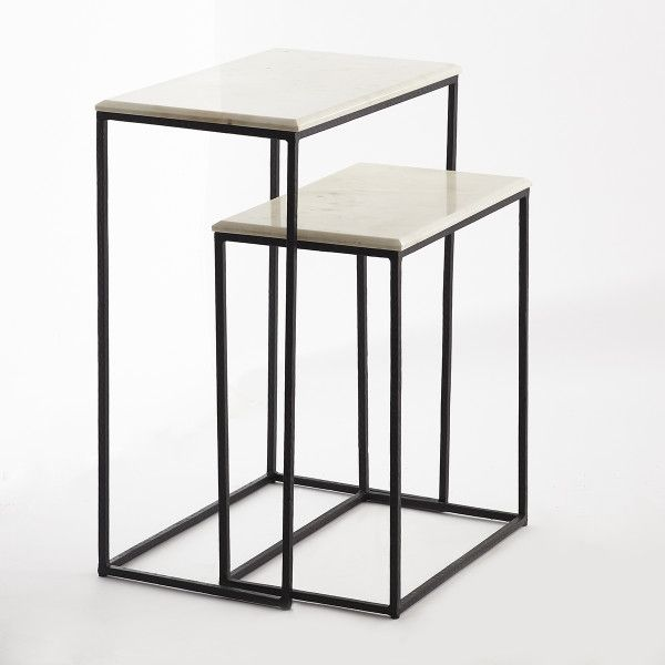 Marble Nesting Side Tables Set Of 2 New