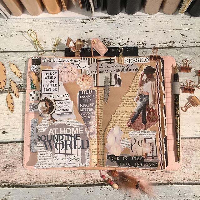 I love my rosegold Travelnotebook from @websterspages ➕✔️ - Ich hatte heute Zeit um ein paar Travelnotebook Folder zu basteln. Der Craftpapier Folder (siehe Insta Storie) gefällt mir davon am besten. Aus alten Zeitschriften habe ich mir Fotos, Bilder und Überschriften raus gesucht und sie angerissen & auf den Folder geklebt. - - Inspiriert hat mich dazu die liebe @gerokreativ Ich bin so verliebt in ihr Travelnotebook Hast du es schon gesehen? - - - - #Happymail #snailmail #Kikki #Filofax…