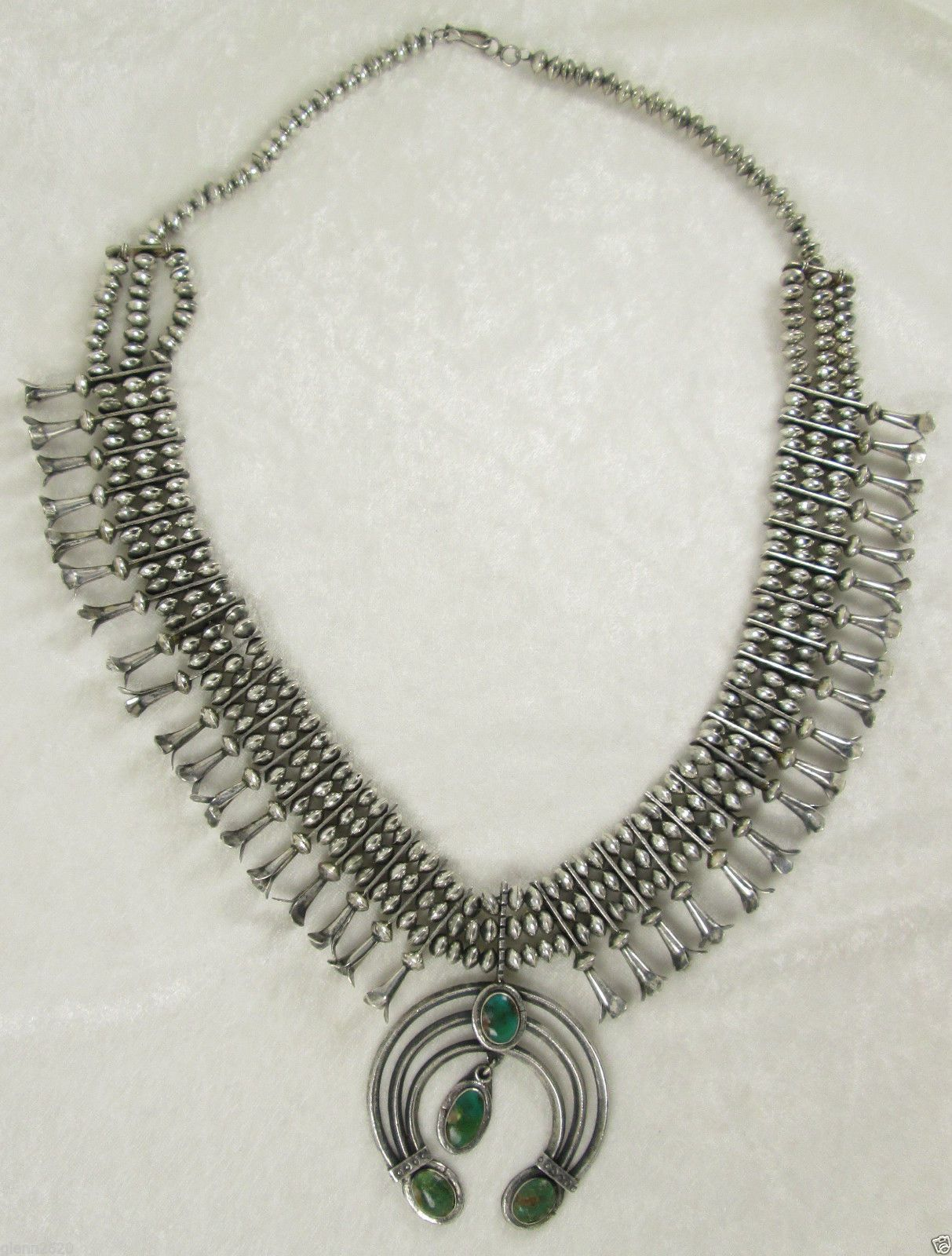 Antique Cochiti Pueblo Sterling Turquoise Squash Blossom Necklace 30in 325g 1930 | eBay