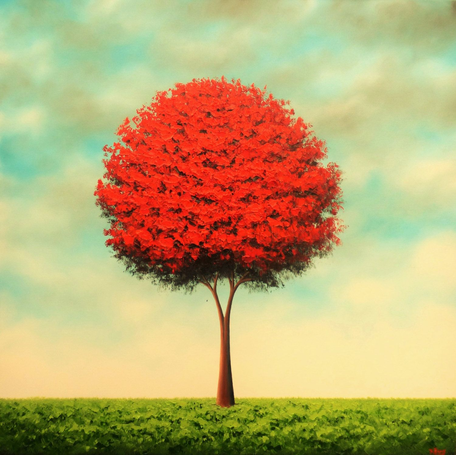 Red Tree Art Print, Large Wall Art Nature Print, Red Wall Decor ...