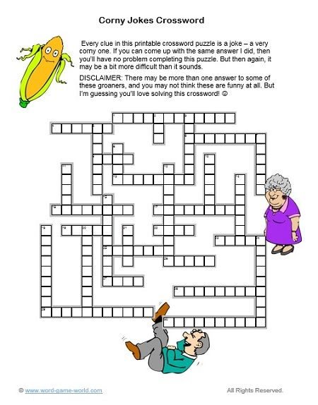 A Printable Crossword Puzzle All About Corny Jokes Printable Crossword Puzzles Crossword Crossword Puzzle