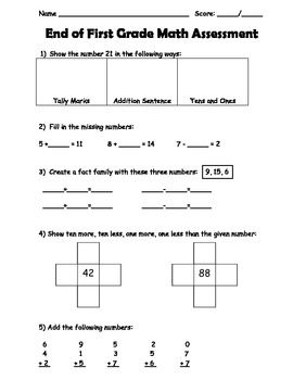 End of Year First Grade Math Assessment | Common Core | Math ...