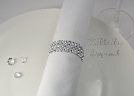 Diamante Effect Napkin Ring Wraps for Weddings, Dinner Parties & Special Occasions.