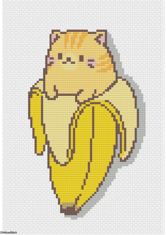 Photo of Cat Cross Stitch Pattern, Banana Cross Stitch Embroidery, Modern Cross Stitch, Funny cross stitch, Animal cross stitch