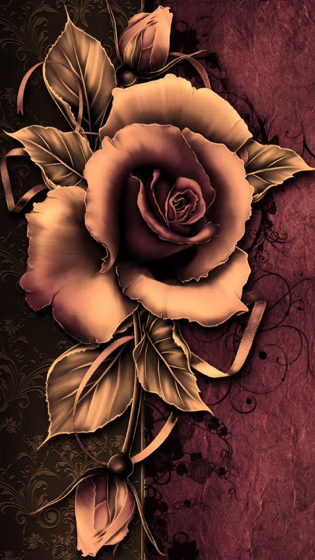 Rustic Rose Wallpaper...By Artist Unknown...