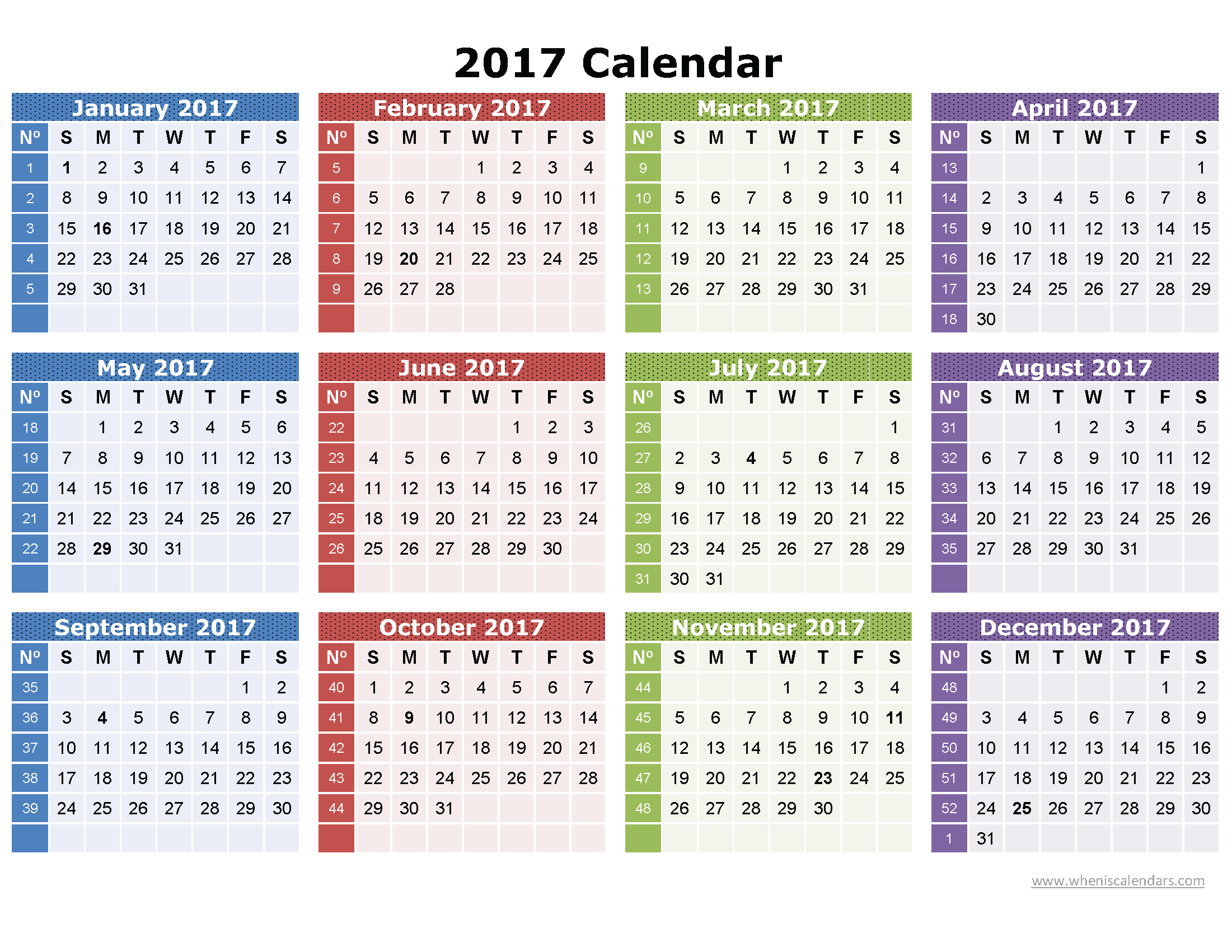 2017 Calendar Printable One Page | Download: Image (full size ...