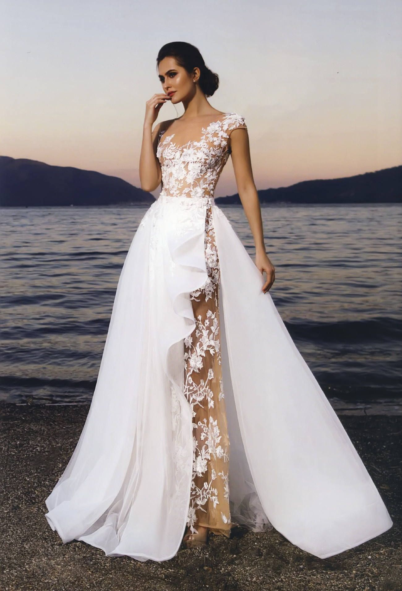 Wedding dress without train  Neras  Nuage Volant Sheath Lace Wedding Dress Detachable Skirt