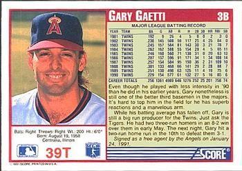 gary gaetti trading cards | 1991 Score Rookie & Traded #39T Gary Gaetti Back