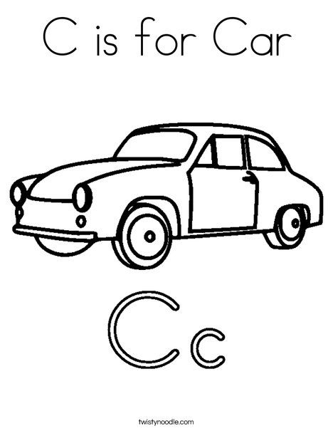 C Is For Car Coloring Page From Twistynoodle Com Cars Coloring