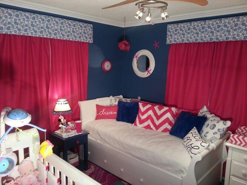 Girls Nautical Nursery: Navy And Pink Girls Nautical Nursery