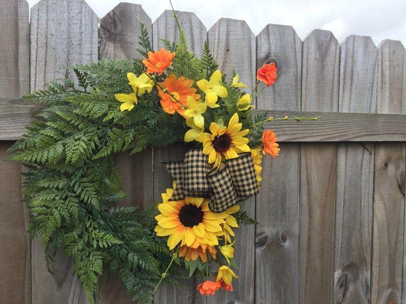 Photo of Spring sunflower wreath for front door, fern wreath, sunflower decor, year round wreath, floral wreath, farmhouse home decor, nursery decor
