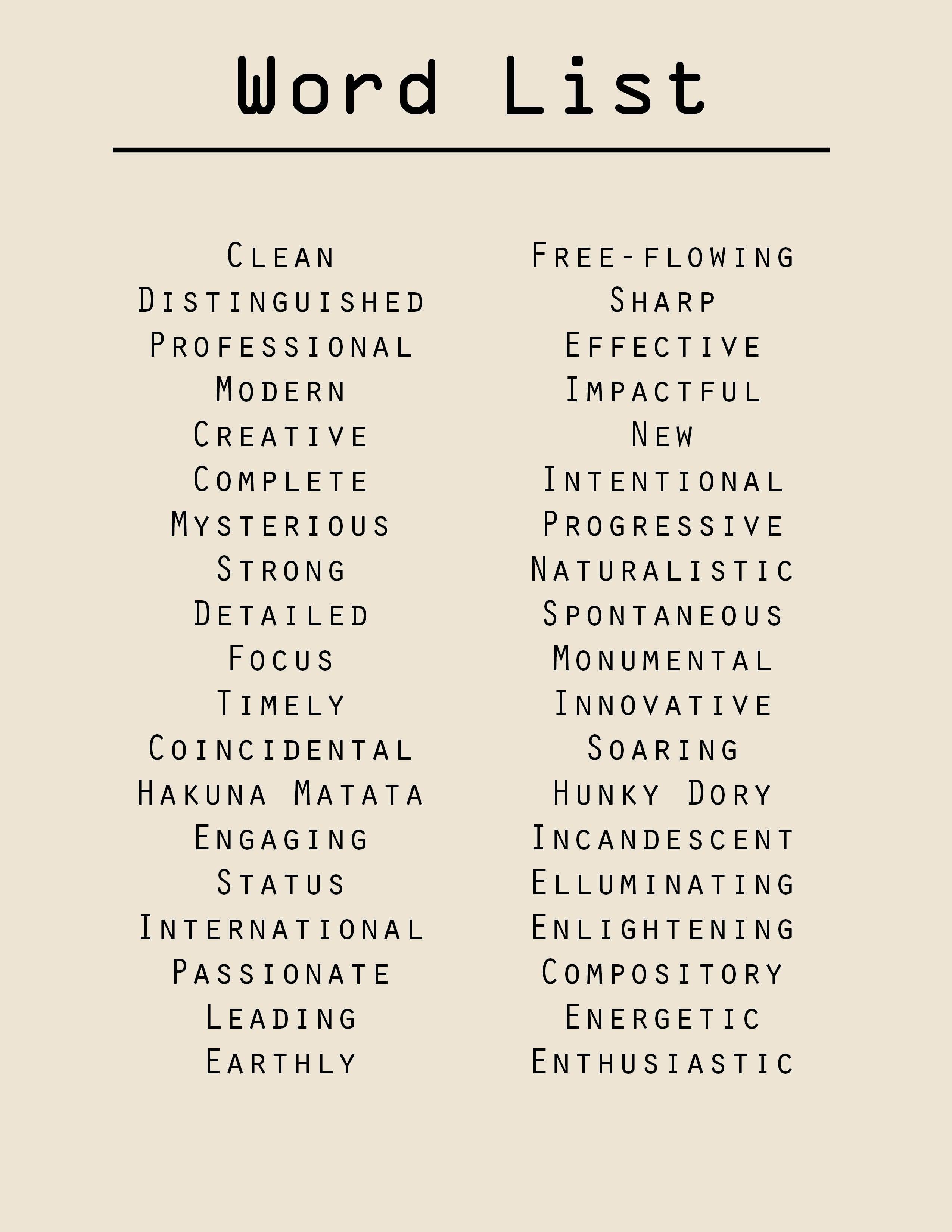 Word List Word List Words Word Bank