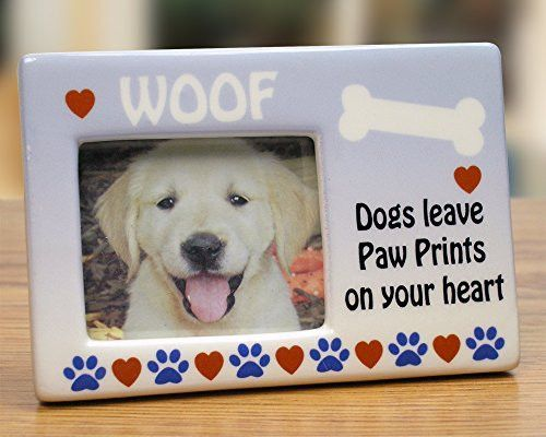 Paw Prints on My Heart Ceramic Picture Frame with Dog Bone and Woof ...