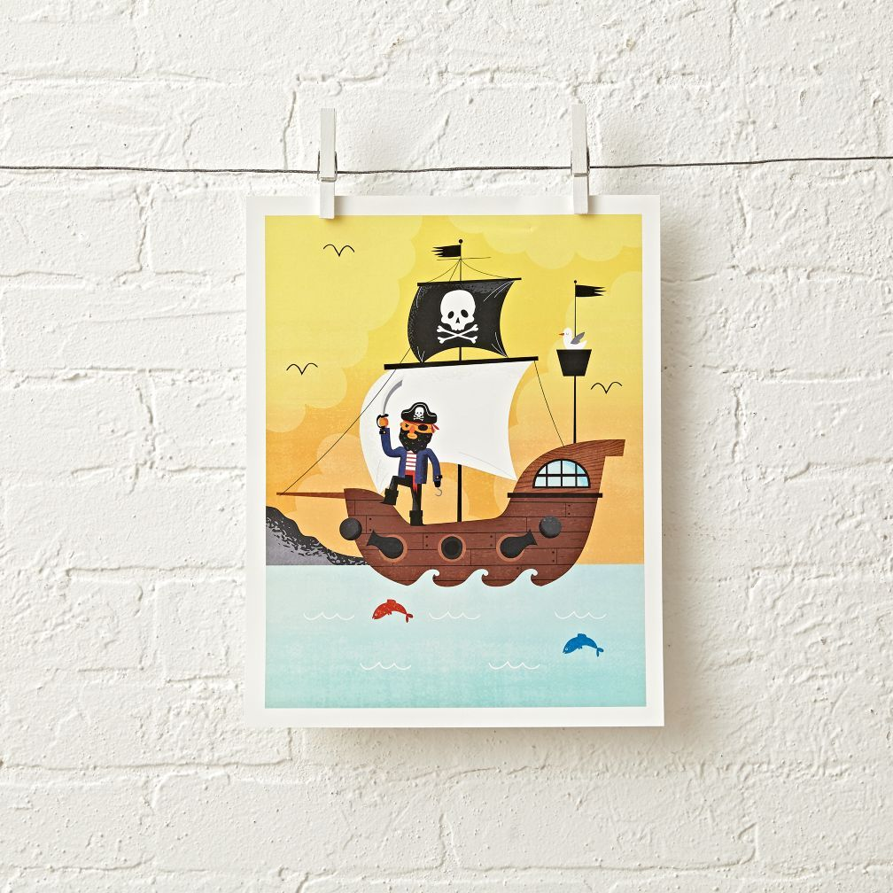Shop Yellow Pirate Unframed Wall Art. This yellow pirate ship wall ...
