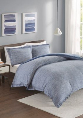 Urban Habitat  Space Dyed Melange Cotton Jersey Knit Duvet Cover Set - Blue - Twin