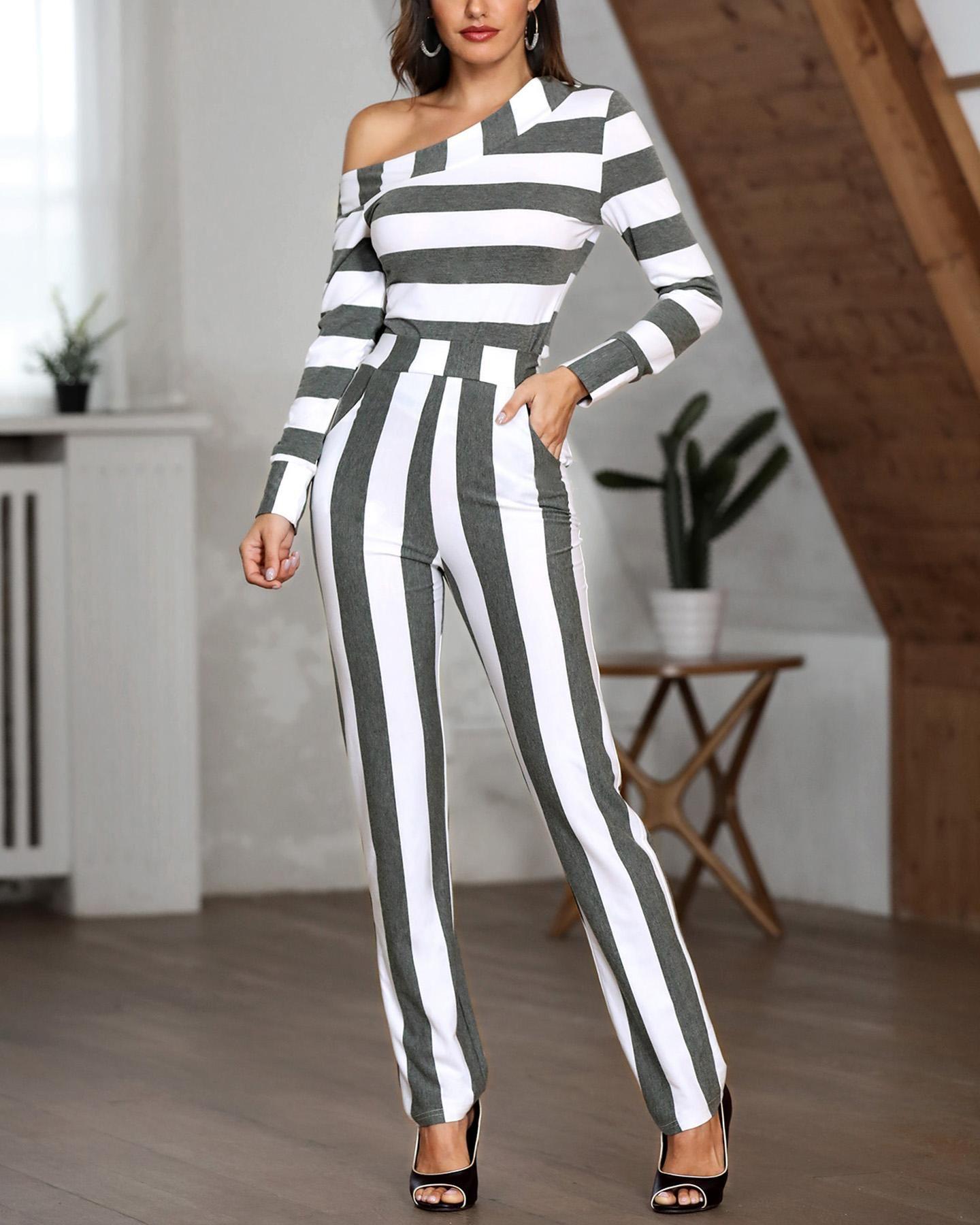 One Shoulder Striped Casual Jumpsuit HOT SALES 2019
