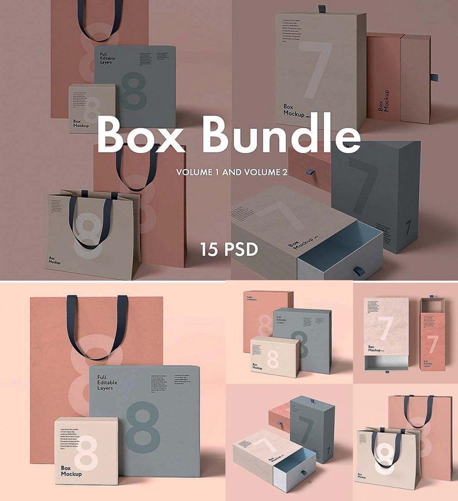 Box and bag mockup bundle | Package | Bag mockup, Mockup