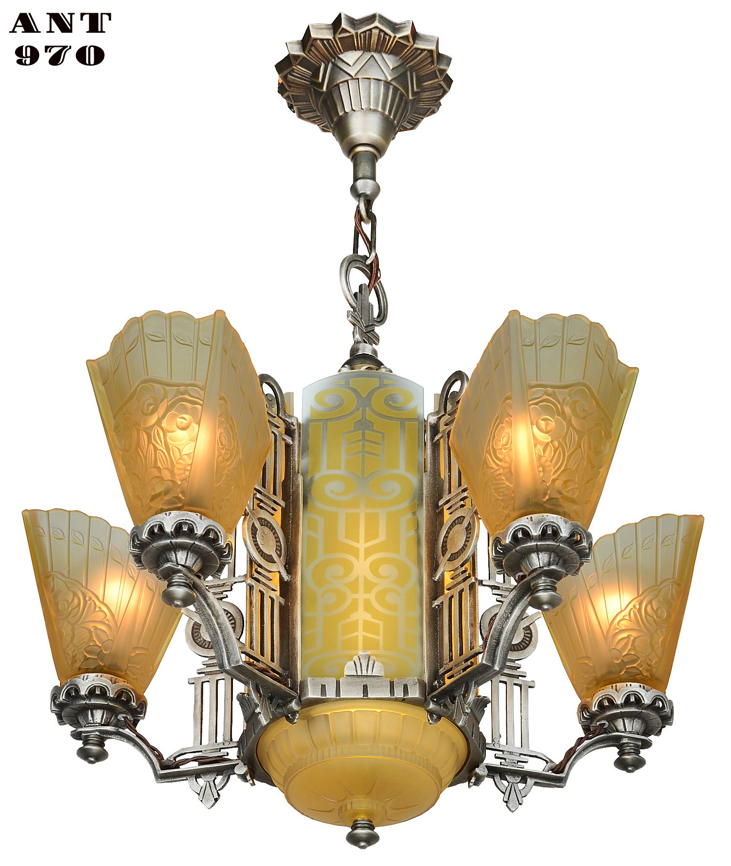 Art Deco Slip Shade Chandelier With Amber Etched Glass Center