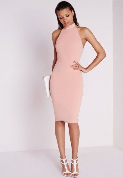 171b7fb01d38 High Neck Bodycon Dress Dusky Pink - Dresses - Bodycon Dresses - Missguided