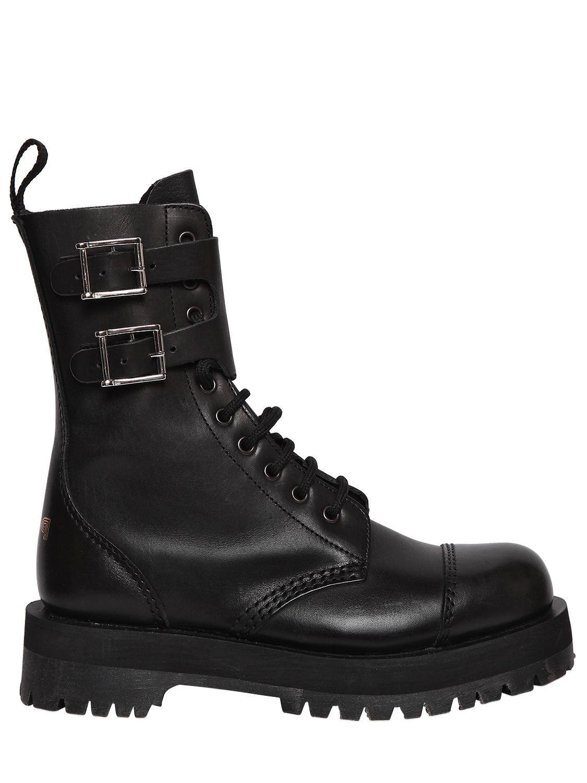 444edf37d305 POP BOY 40MM GANG DOUBLE SOLE LEATHER BIKER BOOT.  popboy  shoes ...