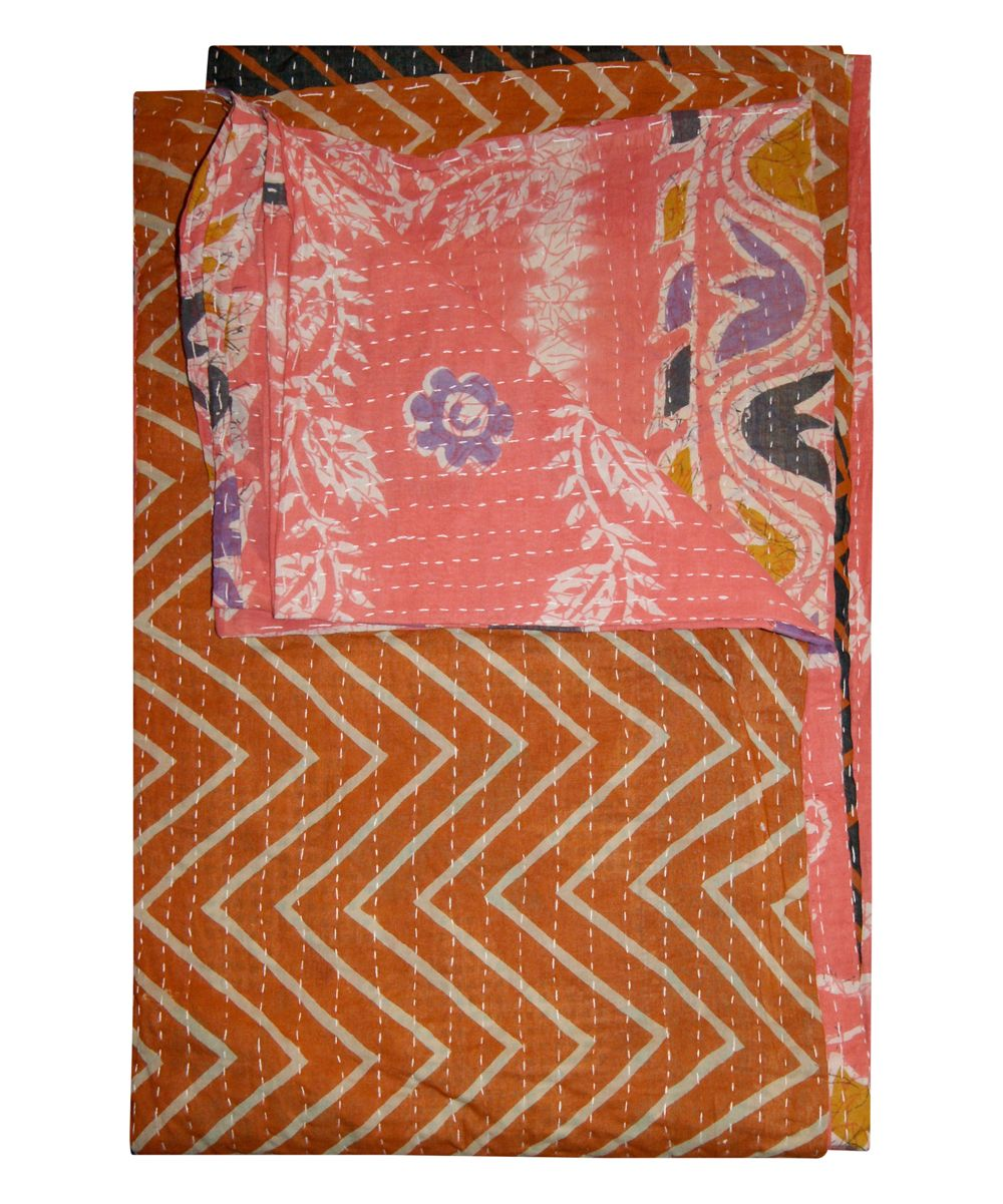 Coral & Orange Zig-Zag Vintage Handmade Kantha Throw