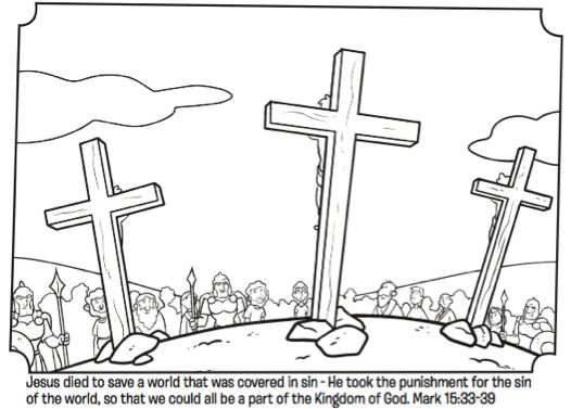Easter Three Crosses Coloring Page