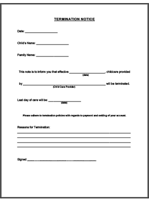 Termination Notice Printable for Child Care | Daycare | Daycare