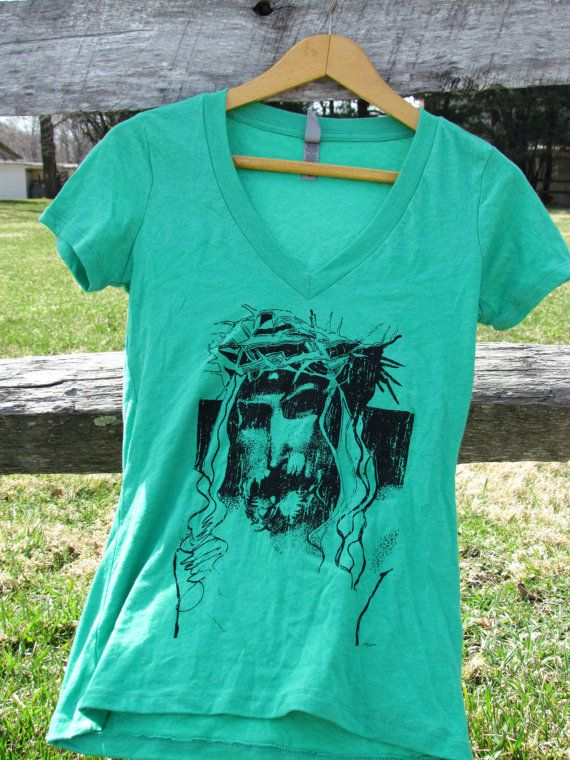 Jesus custom screenprint Black and Ivy by MoonLightDrivePrints, $15.00