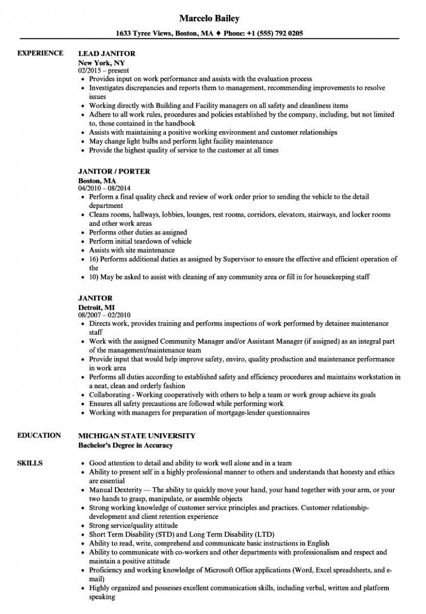 13 Primary Janitor Resume