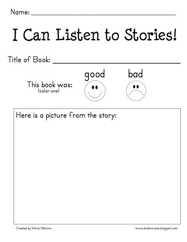 I Can Listen To Stories Response Form Reading Classroom Kindergarten Reading School Reading