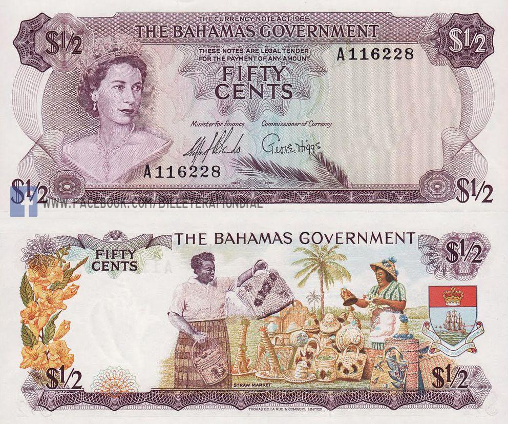 billete de bahamas 1980  05 dolares // banknote  notas