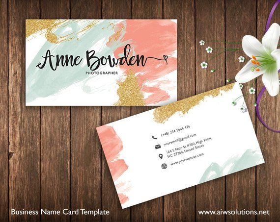 Business Cards Printable, Name Card Template, Photography name card