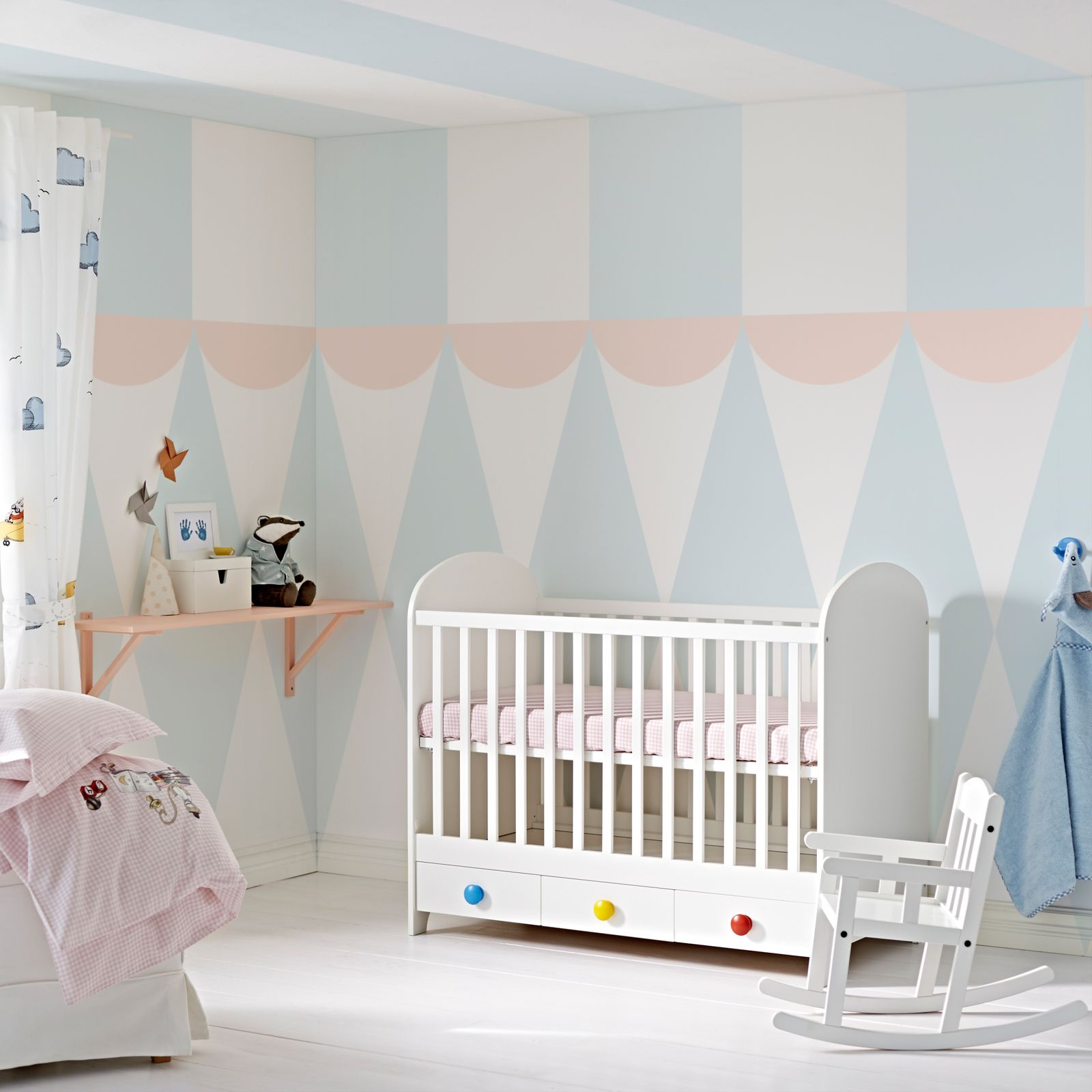 Such pretty pastel paint colors Love the way the walls and ceiling
