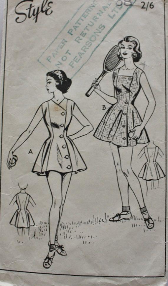 1940s Sleeveless One Piece TENNIS Dress by BluetreeSewingStudio, $65.00