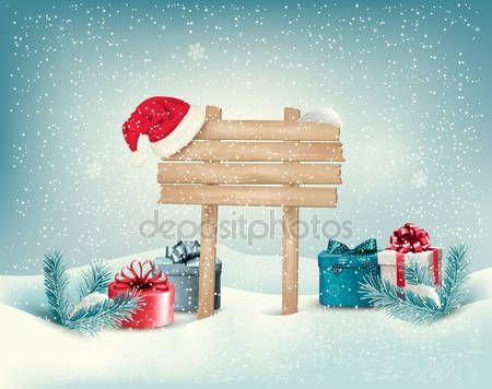 Скачать - Зимняя елочка с подарками и деревянная доска ...