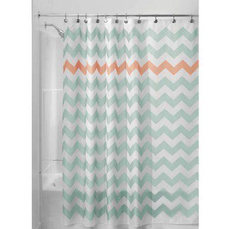 InterDesign Chevron Shower Curtain 72 Inch X Various Colors Orange
