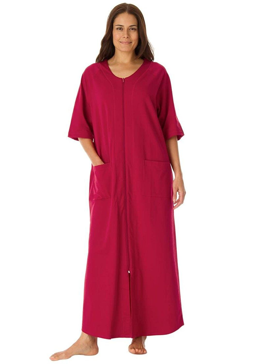 Dreams and Co Women's Plus Size Long French Terry Robe Classic Red,M *** For more information, visit now : Plus size tops