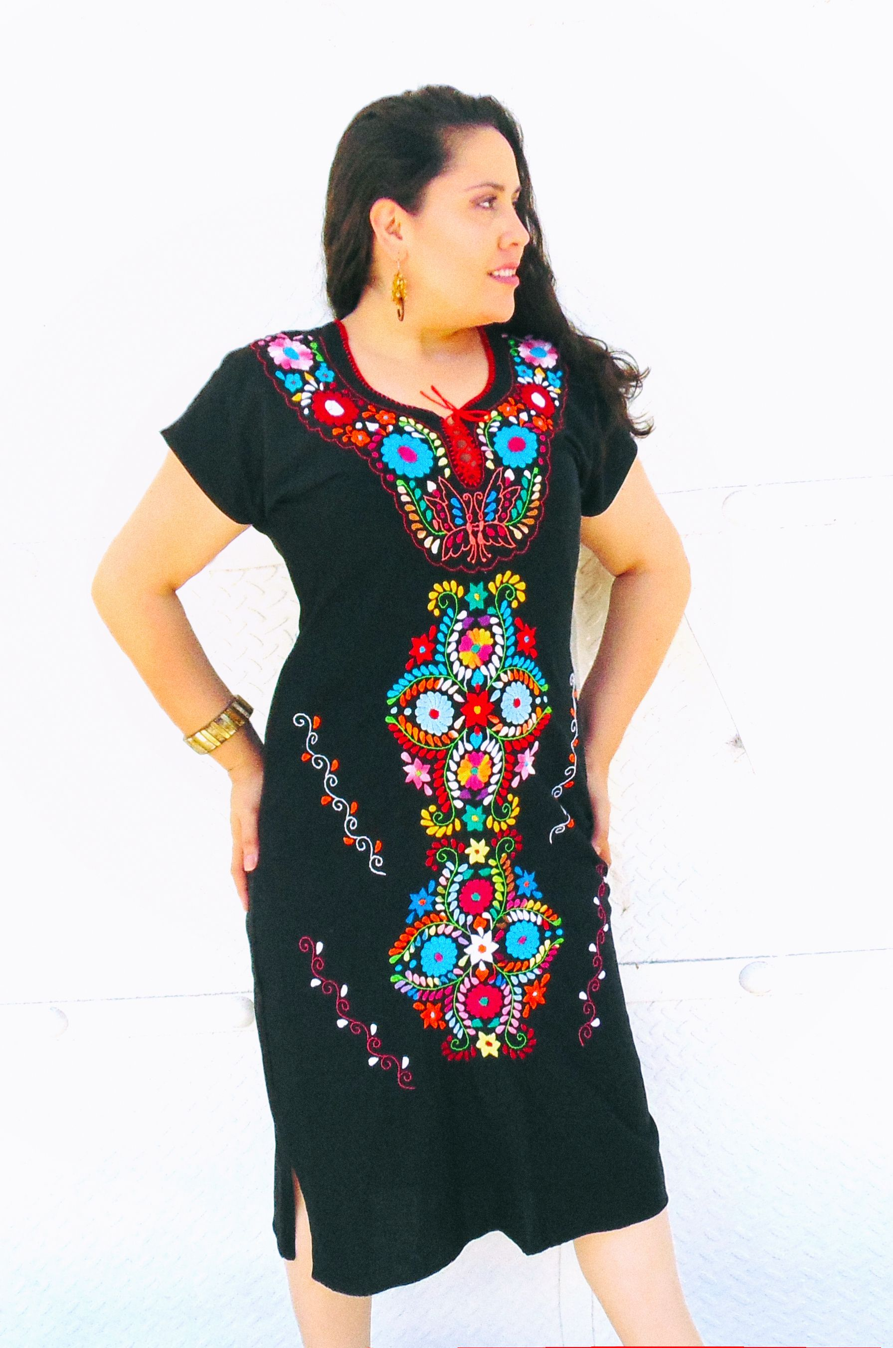 An Amazing Mexican Embroidered Dress The Perfect Black For A Boho Look Visit My Easy More Info Or Pin To View Later