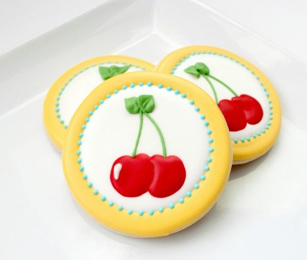 Sugarbelle's cookies with cherry stencil