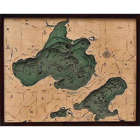 Lake Mendota Lake Monona Wood Lake Art Dark Wood Stain