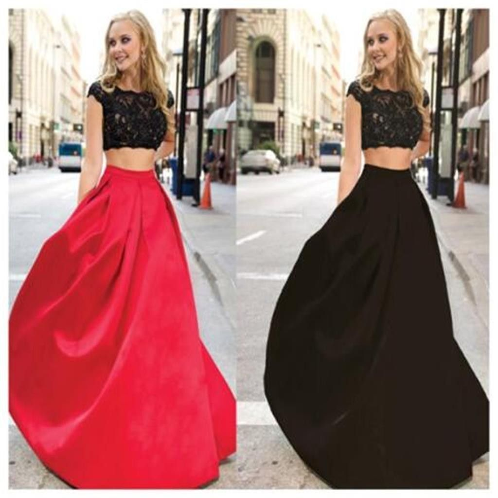Long two pieces simple red and black custom affordable party dresses