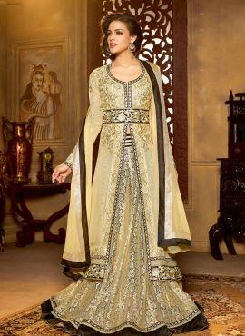 5ce6e48a08c Beige long jacket style wedding wear anarkali churidar suit ...