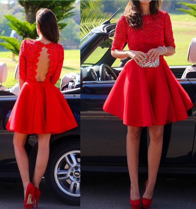 Red Lace Graduation Dresses, Short