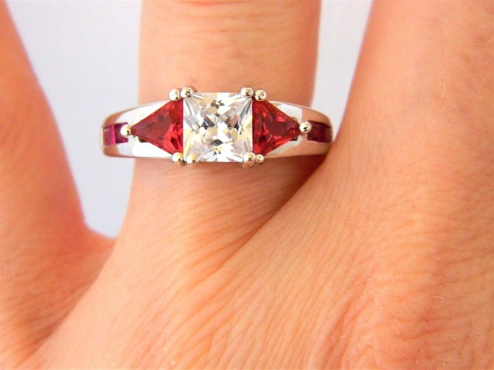 Cubic Zirconia Fashion Cocktail Ring Open Work Silver Tone Red Rhinestone 7.25 #Unbranded #Cocktail