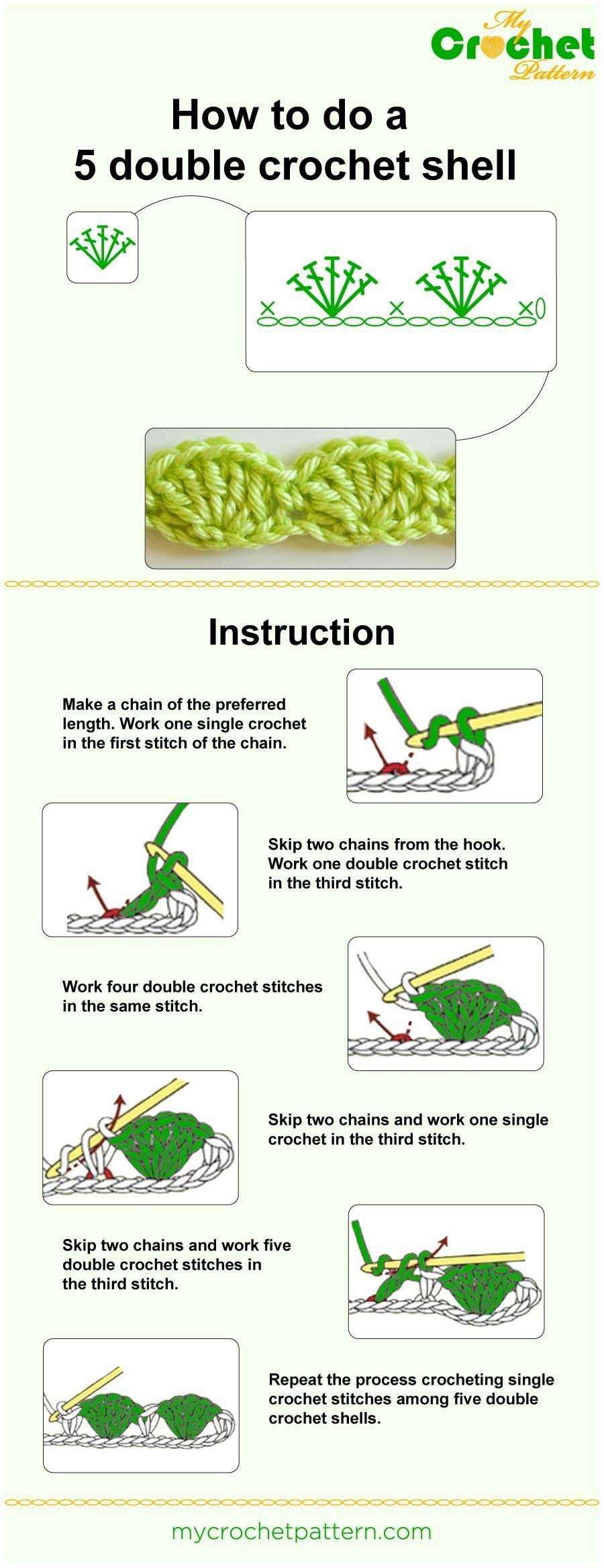 How To Do A 5 Dc Shell Infographic Crochet Ideas Pinterest Double Diagram Cake Diy