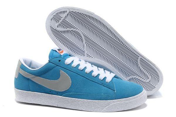 En Solde Chaussures Nike Blazer Low Suede Vintage Homme Bleu Gris Blanc-31