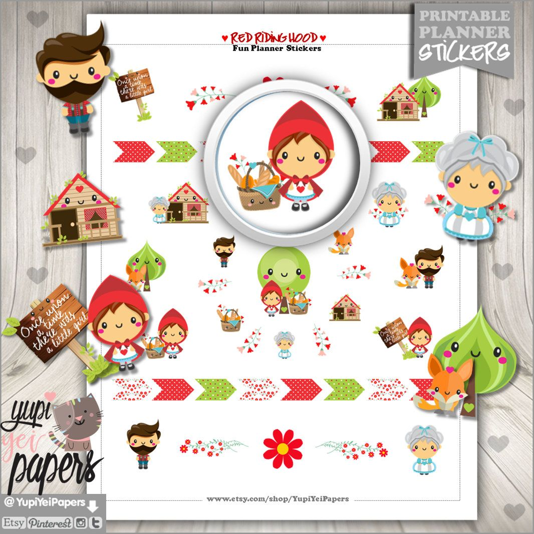 Red Riding Hood Stickers, Planner Stickers, Erin Condren, Kawaii Stickers, Planner Accessories, Printable Stickers, Tale Stickers