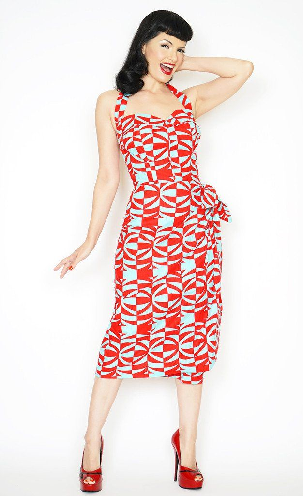 4060ba8831cc Sarong Tiki Oasis Pin Up Dress in Polynesian Print | Sarong/Tiki ...