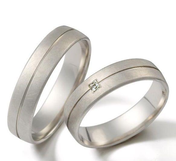 Anillos de matrimonio de oro blanco 18k